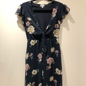 LOVEFIRE navy floral maxi dress with knot tie